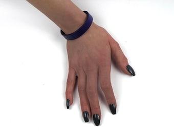 1/2 Inch Wide Discreet Locking Leather Slave Cuff Bracelet