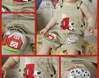 1st birthday Farm theme shortalls - Boys birthday overalls - Personalized Old McDonald Birthday - Farm birthday outfit