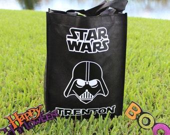 Trick or Treat Bag, Halloween Treat Bag, Personalized Vinyl Bag, Star Wars Trick orTreat Bag, Darth Vader Trooper Trick or Treat Bag