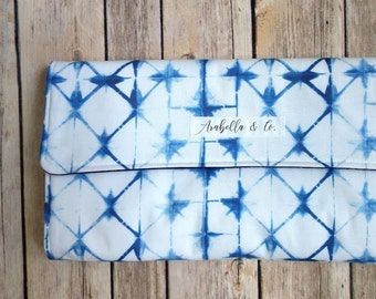 Diaper Clutch- Indigo Shibori, Diaper Clutch with Changing Pad, Diaper Holder, Diaper Clutch Pockets, Diapers and Wipes Case