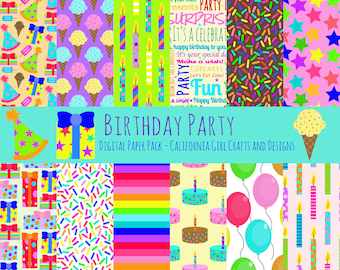 Birthday Party Digital Paper Pack - Instant Digital Download - 12 by 12 - Cakes, Balloons, Presents, Candles