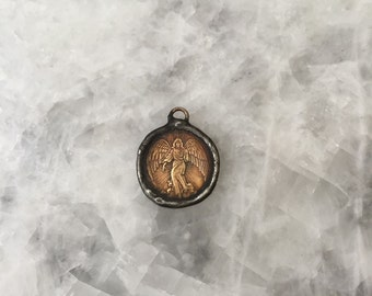 Soldered Angel Coin Pendant, Medal, Rustic Brass Coin, Guardian Angel Necklace, 2 Sided