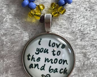 I love you to the moon Angel bead woven necklace