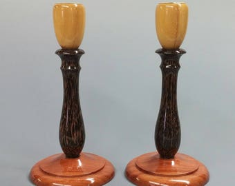 Pair Exotic Wood Candlesticks