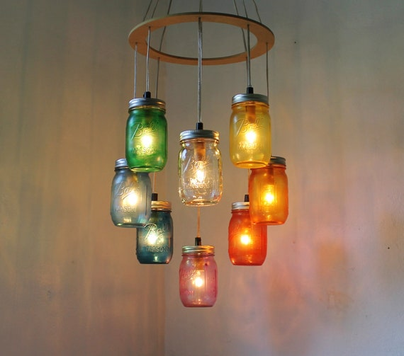Just Reduced Rustic Handmade 3 Bulb Hanging Light Fixture Or: RAINBOW Heart-Shaped Mason Jar Chandelier Rustic Hanging