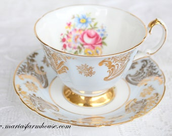 "TEA CUP, Vintage English Fine Bone China Footed Tea Cup & Saucer by Paragon, ""Something Blue"" Bridal Shower or Wedding Gift Inspiration"