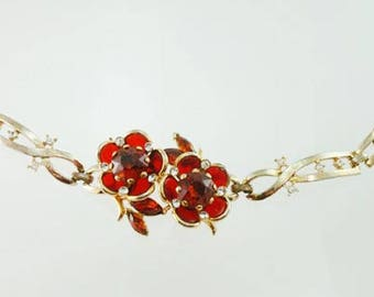 Orange & Clear Rhinestone Bracelet Raised Flowers Orange Bracelet Orange Rhinestones Flower Bracelet