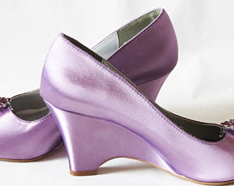 ALICIA Collection - WeDDING WEDGES -Purple Plum Crystal Rhinestone - Toe Front