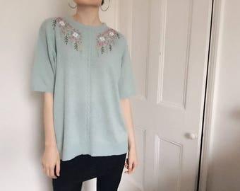 Vintage blue floral jumper