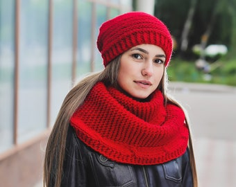 Knit hats women Chunky knit hat Chunky beanie Red infinity scarf Red hat Red winter hat Cable wool scarf Slouchy beanie women Slouchy hat