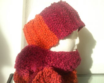 Hand-knitted headbands and matching snood