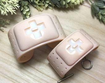 CEROTTO - Polymer Clay Cuff Bracelet, Bandaid Cuff Bracelet, Cuff Bracelet, Chunky Bracelet, Skin Tone Bracelet, Gift for Her