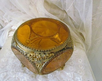 HUGE Globe Amber Glass Beveled Filigree Ormolu Jewelry Casket Box