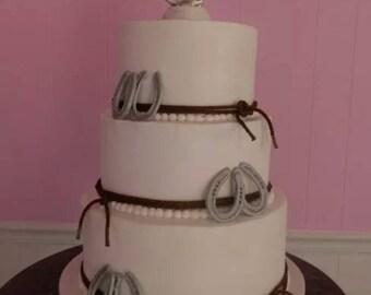 Handmade Fondant Horseshoes cake topper set