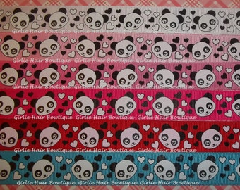 "7/8"" Panda Academy Heart Grosgrain Ribbon 1 yd Ribbon by the Yard Panda Bear Ribbon Panda Ribbon Valentine's Day Ribbon Heart Ribbon Love"