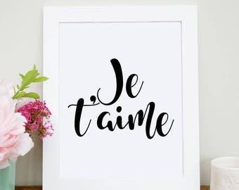 Je t'aime Beaucoup Love Print. Gold Foil Print. Typographic Print. Wall Art. Home Decor, Anniversary Gift. French Quote. Inspirational Art