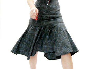 Tartan midi skirt, office wear, womens skirt, plaid skirt, checkered skirt, high waisted skirt, business clothes