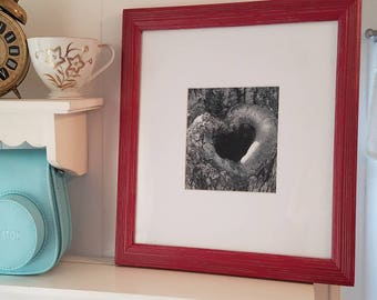 Romantic Heart Print, Black and White Photo in Red frame, Woodland Romance, Wedding Engagement Valentines Day