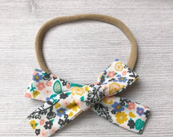 Floral Cactus Schoolgirl Bow, Baby Headband, Flower Bow Headband, Nylon Headband, Baby Girl Headband, Baby Accessories, Baby Bow Headband