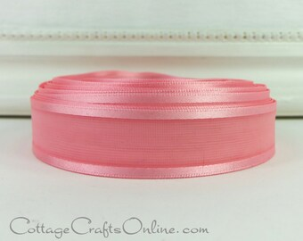 "Sheer Ribbon, 7/8"" wide, Pink Sheer with Satin Edge, FOUR YARDS,  Offray ""Dancer"" Light Pink, Corsage, Valentine Craft Ribbon, Sewing Trim"