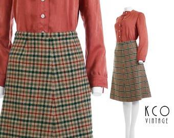 "Pendleton Wool Skirt 70s Vintage Skirt A-Line Midi Skirt Plaid High Waisted Skirt Preppy Retro Vintage Clothing Women's Size SMALL 25"" Waist"