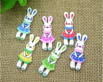 10 Easter Bunny Wood Buttons, Colorful Mixed colors, 2 Holes Flat Back, Lamb Wooden Button for Sewing, Baby, Hair Accessories, 45mm X 19mm
