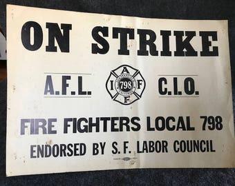 Vintage firefighter labor strike poster 1975