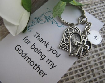 Godmother Gift-Godmother key chain-Godparent Gifts-Christening Gifts-Personalized Godmother Gift- Godmother Card- Confirmation-Communion