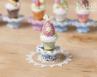 "MTO-Easter ""Showstopper Cupcake (C) - Pink Egg - Miniature Food in 12th Scale"