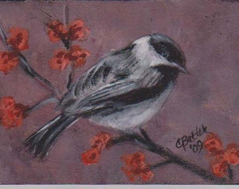 Chickadee, Spring ACEO,small bird painting, small songbird,black and white bird,artist trading card,collectible art,small art,