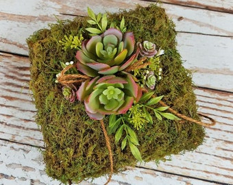 Rustic Moss Ring Bearer Pillow with Burgundy Succulents