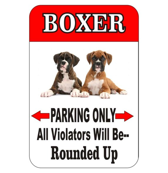 boxer dog sign, yard sign, dog sign, pet sign, metal sign, funny metal sign, driveway sign, fence sign, indoor/outdoor sign