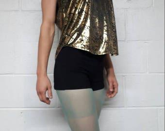 Vintage Metallic Gold Black Snakeskin Tank Reflective Slouch Shirt Glam Punk Grunge Top
