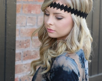 Black Boho Headband - Halo Headband - Bohemian Headband - Boho Headband - Forehead Headband - Hippie Headband - Black Headband - Halo