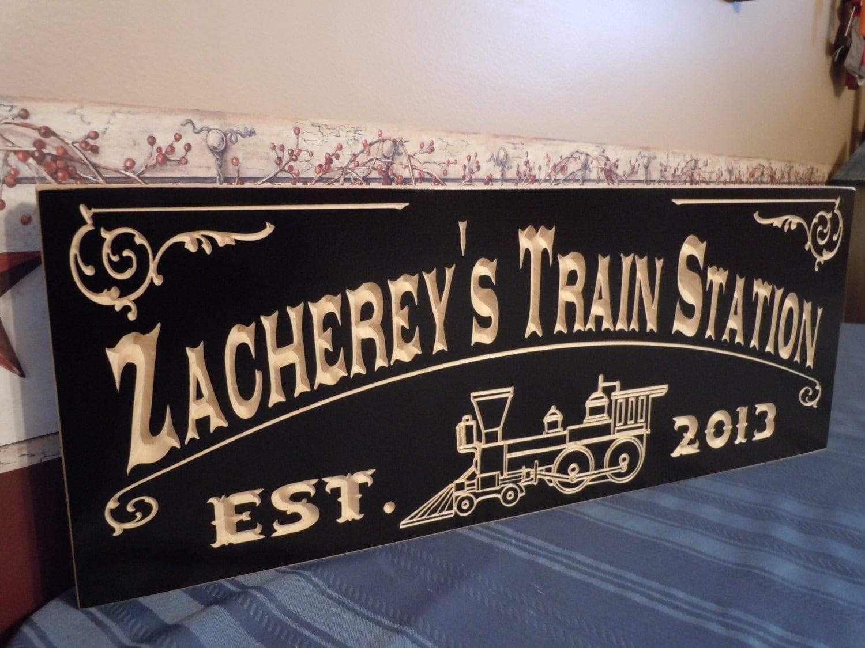 Family Electric Train Station Sign Railroad Memorabilia
