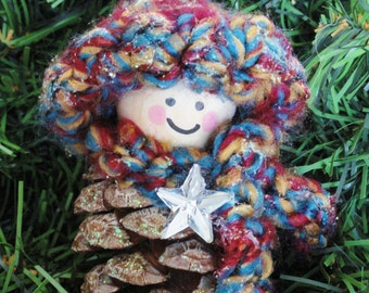 Pinecone Gnome Christmas Tree Ornament Star Crocheted Crayon Colored Hat & Scarf Handpainted Wooden Holiday Decoration Distinctly Daisy