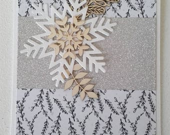 Snowflake card wood and silver