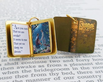 A Midsummer Night's Dream by William Shakespeare - Miniature Book Shaped Charm Pendant - for charm bracelet or necklace. Custom available!