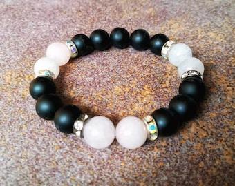Beaded Bracelet, Pink Quartz Bracelet, White Quartz Bracelet, Onyx Matt Bracelet, Gemstone Bracelet, Boho Jewelry, Amulet, Chakra Jewelry
