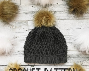 Crochet Beanie Pattern- Crochet hat pattern- Crochet- hat- Winter hat- Crochet Pattern- Crochet beanie with pom pom- Pom Pom