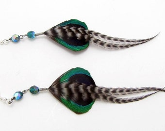 Peacock Feather Earrings - Short Beaded Feather Earrings - Spring Peacock