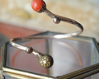 Protection--Victorian Gold Filled By Pass Coral Bead BRACELET