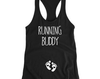 Running Buddy Tank, Pregnancy Announcement Shirt, Pregnancy Tank Top, Expecting Mom Gift, Cute Pregnant Tank, Pregnant Running Tank