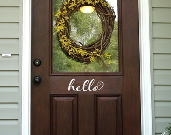 Hello Door Decal - Front Door Decal - Script Decal - Wall Decal - 2