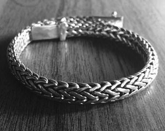 Sterling silver mens bracelet, snakeskin bracelet, silver snake chain