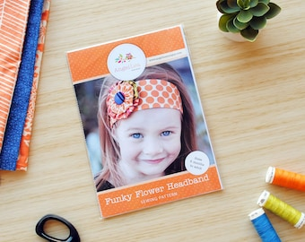 Flower Headband Pattern HARD COPY Paper Sewing Pattern and Tutorial for Funky Flower Headband, Reversible Head Band, DIY