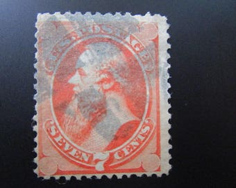 1871 Seven Cents Used Stamp Vermilion United States Postage #149 Edwin Stanton Banknote Stamps Collect Buy Old Postal Stamps United States
