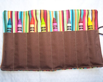 Multi colored striped crayon roll up 8 count