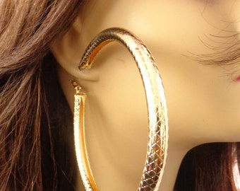 LARGE 4 inch Gold Shiny Pipe Round Hoop Earrings Silver and Gold Tone Large Hoop Earrings