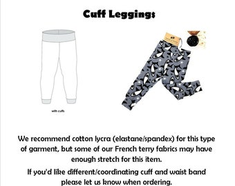 Custom Made/Made to Order -  Cuff Leggings - Choose your Fabric & Size
